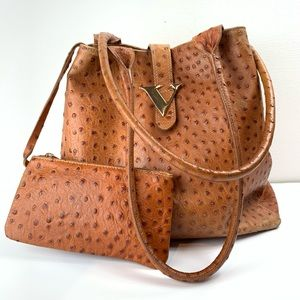 Handbags - Ostrich embossed tote bag with attached coin purse
